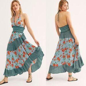 Free People Gabriela Slip Maxi Dress Blue Floral